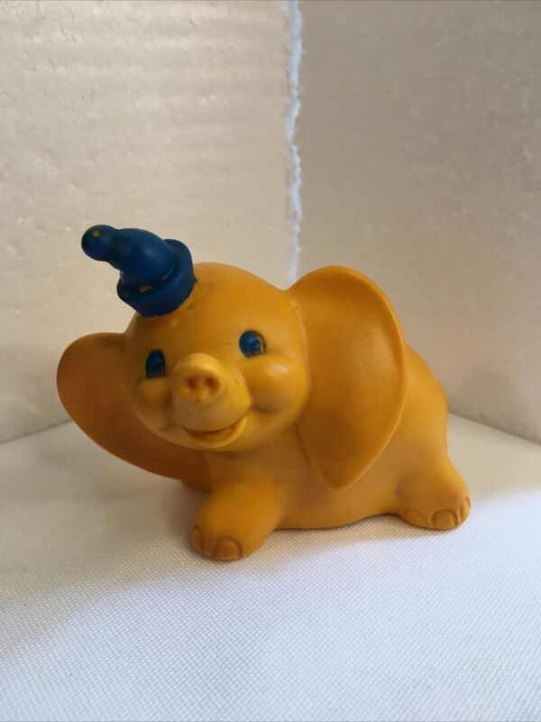 "Vintage 1960s Walt Disney Yellow Dumbo 3"" Vinyl Figure"