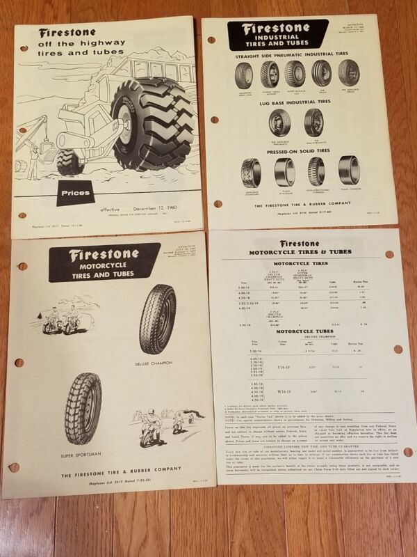 VINTAGE FIRESTONE PRICE LIST FOR OFF HIGHWAY, INDUSTRIAL, AND MOTORCYCLE TIRES