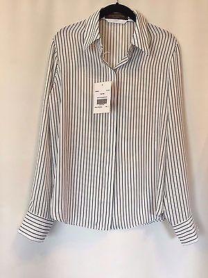 NEW LOUIS VUITTON UNIFORMES Sz 42 Stripe Shirt Blouse White w/Black, Lg Sleeve