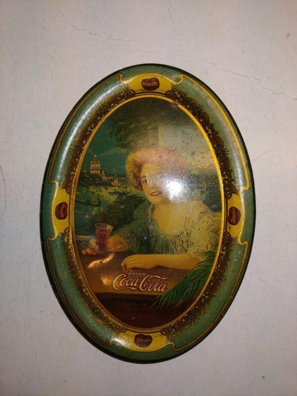 Vintage 1904 Original Coca-Cola Soda Tip Change Tray,Hilda Clark Exposition Girl