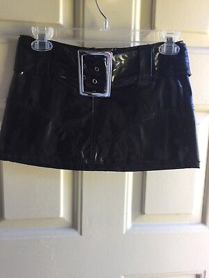 VINTAGE BLACK PATENT LEATHER BELTED HOT N SEXY WET SEAL SKIRT SIZE 0 RARE