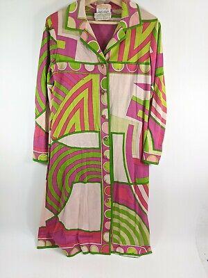Vintage 1960S 1970S Emilio Pucci Button Up Shirt Dress Pink Green Pattern Sz 4
