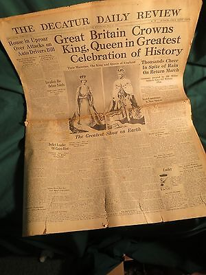 Great Britain Crowns King/Queen, May 12, 1937 Decatur, Illinois Daily Review G