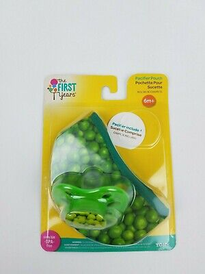 New First Years infant  6M+ Pacifier & pouch Green peas BPA free