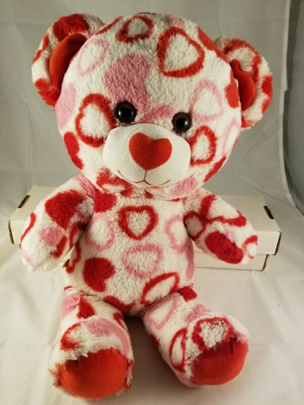 Build A Bear Valentine Day White Teddy Bear Red Pink Heart Plush Stuffed Animal