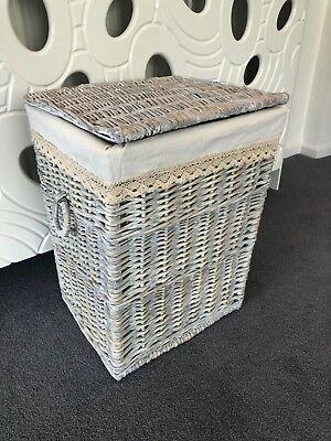 - Large Grey Wicker Laundry Basket Storage Box With Washable Lining, Handles & Lid