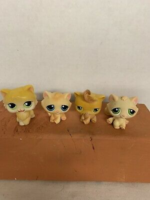 Lot Of 4 Littlest Pet Shop Figurines Yellow Orange Cats Magic Motion + Pre-owned Own Pet Figurines