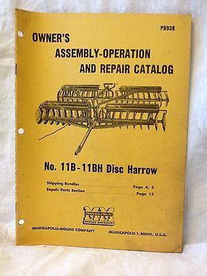 Minneapolis-moline Manual For Harrows Discs.  Item 1093