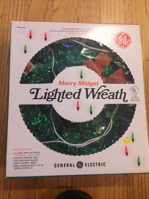 Vintage GE Merry Midget Lighted Christmas Wreath Holiday Decorations With Box