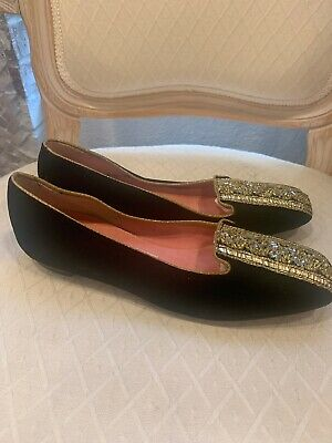 VINTAGE 40s 50s O'OMPHIES WOMENS SHOES Golden And BLACK Velvet Flat  sz 6.5 Rare - Womens 50s Shoes