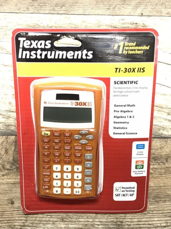 NEW Texas Instruments ORANGE TI-30X IIS 2-Line Scientific Calculator High School