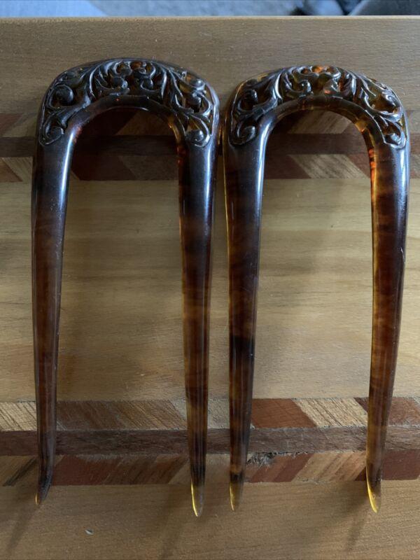 Pair Vintage Lucite/Celluloid? Hair Pins