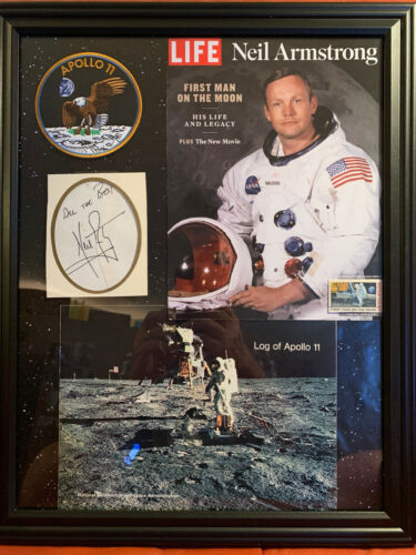 "Neil Armstrong signed GE Envelope with reference to ""First Man"" movie"