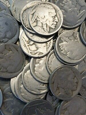 Dateless Buffalo Nickel Roll of 40 Coins Use for Carvings, Buckles, -