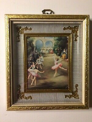 Medieval Ballet Ballerina Dancers Picture Ornate Gold Frame Shadow Box - Ballerina Picture Frame