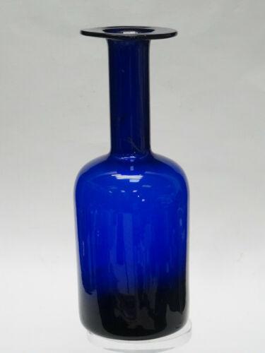 """VINTAGE OTTO BRAUER HOLMEGAARD GULVASE SCANDINAVIAN COBALT BLUE GLASS VASE 10"""""""