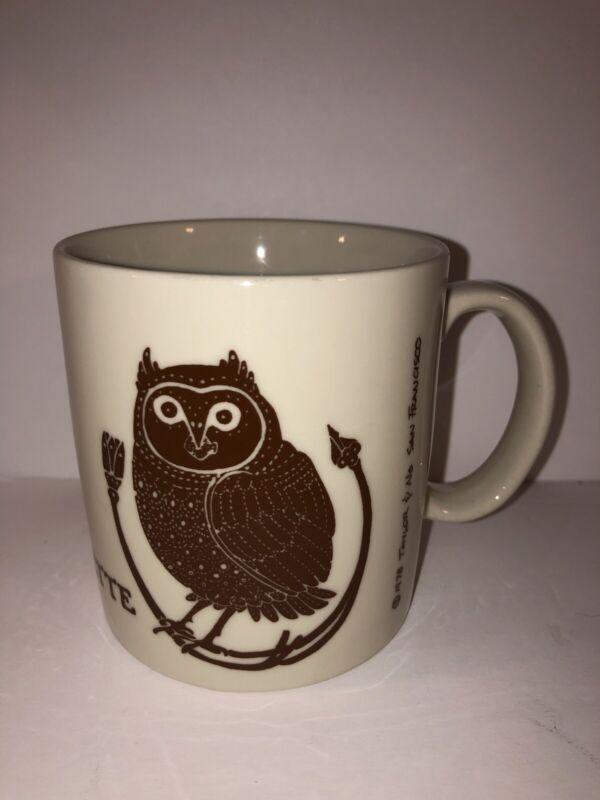 Taylor & Ng La Chouette Owl Mug 1978 San Francisco Vintage Brown