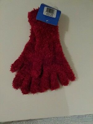 Ladys Red Long Style Fleece Gloves Soft & Stretchy One Size](Red Long Gloves)
