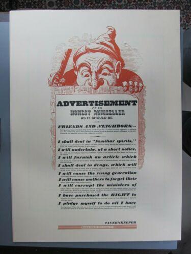 Advertisement of an Honest Rumseller, Poster Reproduction, Morgan Press
