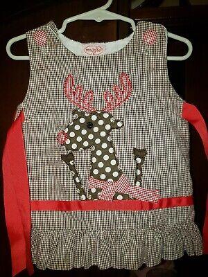 Mud Pie Baby Girls Reindeer Christmas Dress Jumper Sz 6-9 Months