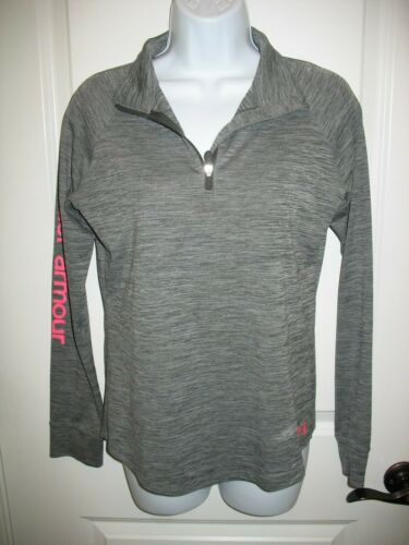 Girls Under Armour 1/2 Zip Pullover Sz YXL Youth XL Gray Long Sleeve Loose Fit
