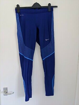 Nike Dri Fit Electric Blue Women's Running Exercise Work Out Leggings Size M