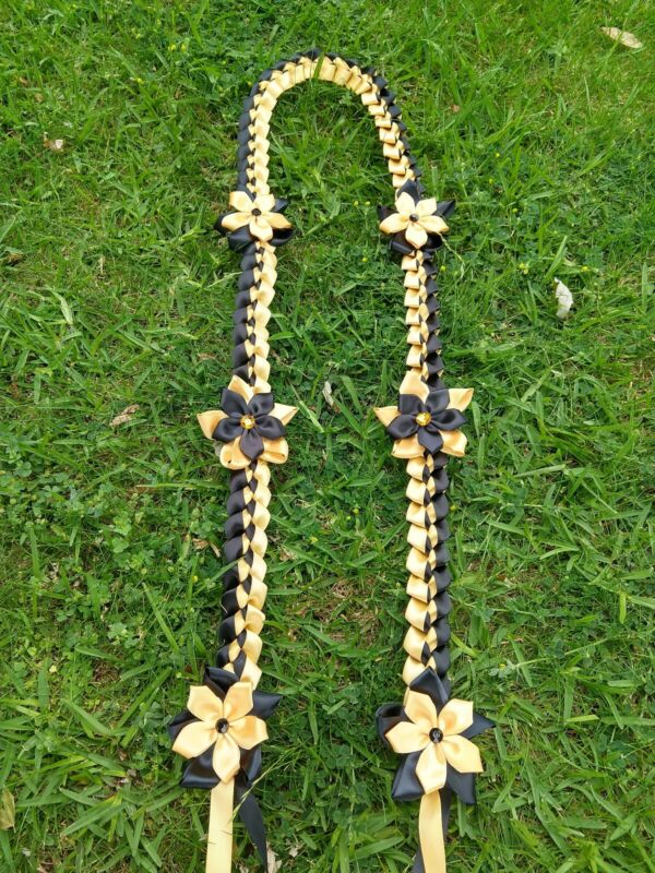Graduation lei, handmade with 2 color of satin ribbons in black and gold