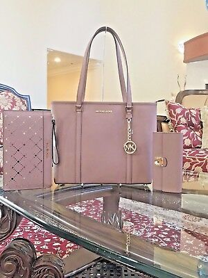 NWT, 3PCS SET MICHAEL KORS SADY LEATHER MD TZ TOTE HANDBAG+WALLET+WRISTLET $800