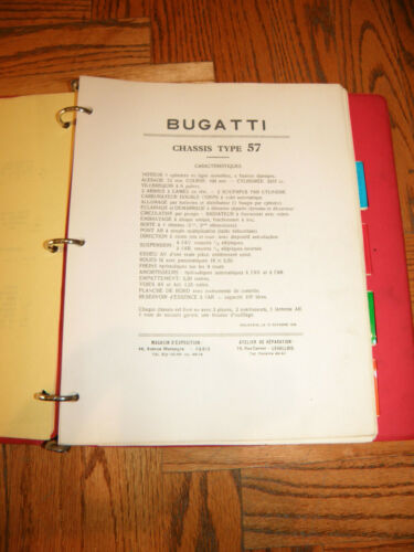 BUGATTI TYPE 57 T57 OWNERS & SERVICE MANUAL REPRINT IN FRENCH