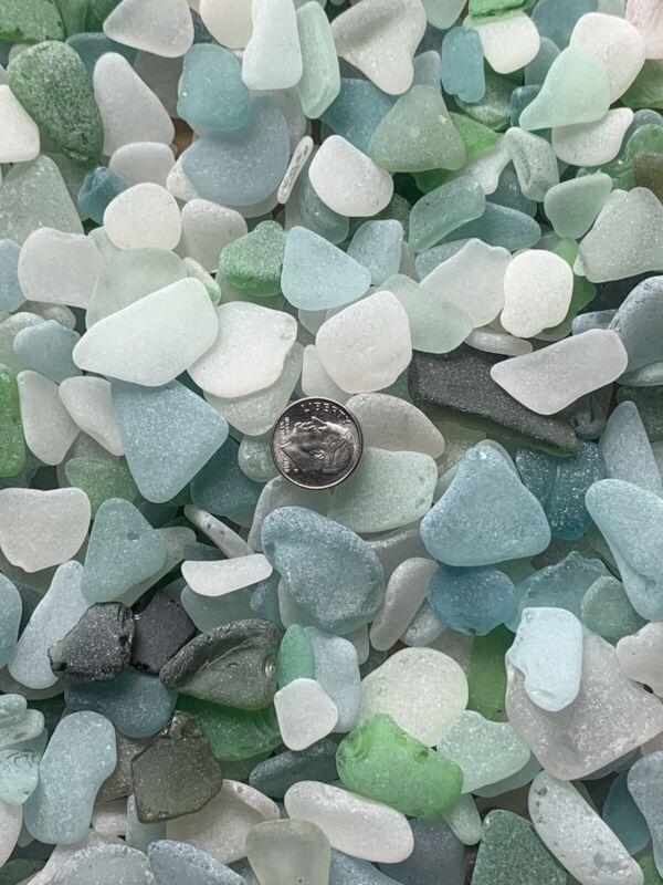 25pc M/L Genuine Surf Tumbled Sea Beach Glass Jewelry/Crafts Rare Blues