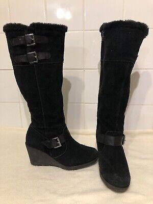 Khombu Black Real Suede Wedge Heel Fleece Lined Knee High Boots. Size UK 5