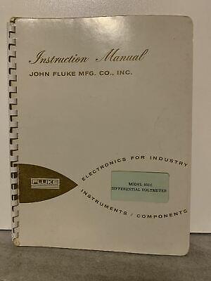 Original Fluke Differential Voltmeter Model 801 Instruction Manual Rare