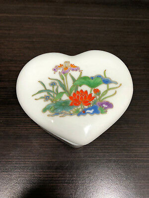 Vintage Takahashi Heart Shaped Covered Trinket Box Hand Painted - Made in Japan! Hand Painted Heart Shaped Box