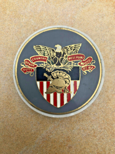 Vintage West Point Coat of Arms & Italian Marble US Military Academy Paperweight