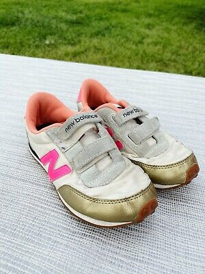 New Balance for crewcuts Girl's Metallic GOld & Pink Athletic Shoes SIZE 11