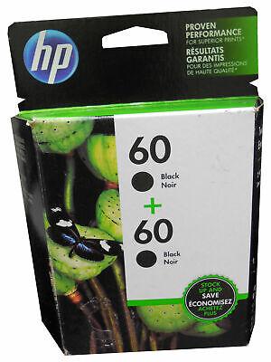 GENUINE SEALED HP 60 INK CARTRIDGES 2 PACK CZ0717FN- BLACK  DATED 2021 OR