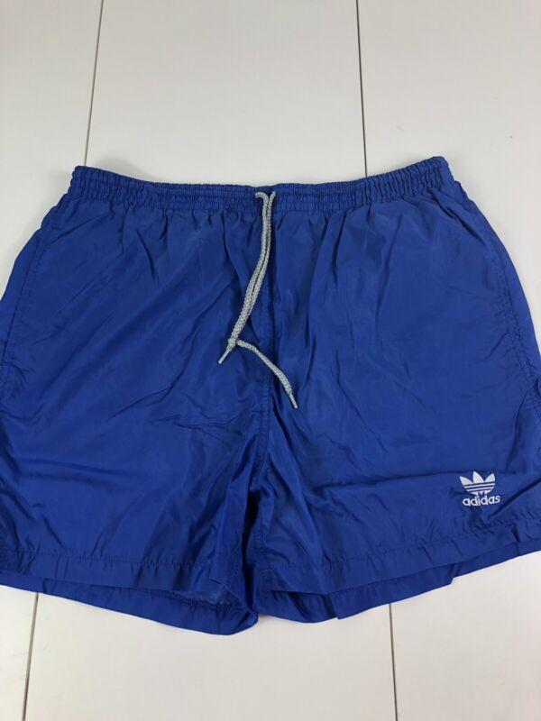 Adidas vintage 1980s Blue white nylon shorts Hose soccer running shiny Medium