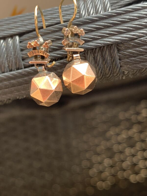Sweet Antique Rose Gold Ball Drop Earrings.
