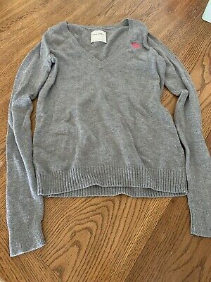 Abercrombie Kids V Neck Sweater Gray Stylish Size Large Long Sleeves Uniform EUC