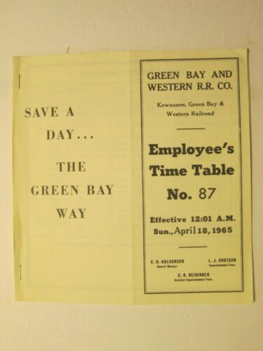 Green Bay and Western Time Table No. 87 April 18, 1965