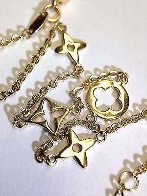 "New| 9-10"" Solid 14K Yellow Gold Clover Anklet Bracelet"