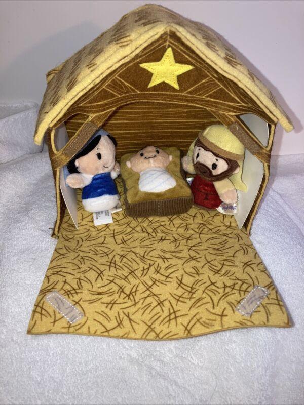 Hallmark itty bittys Nativity Manger Plush Holy Family Baby Jesus Mary Joseph