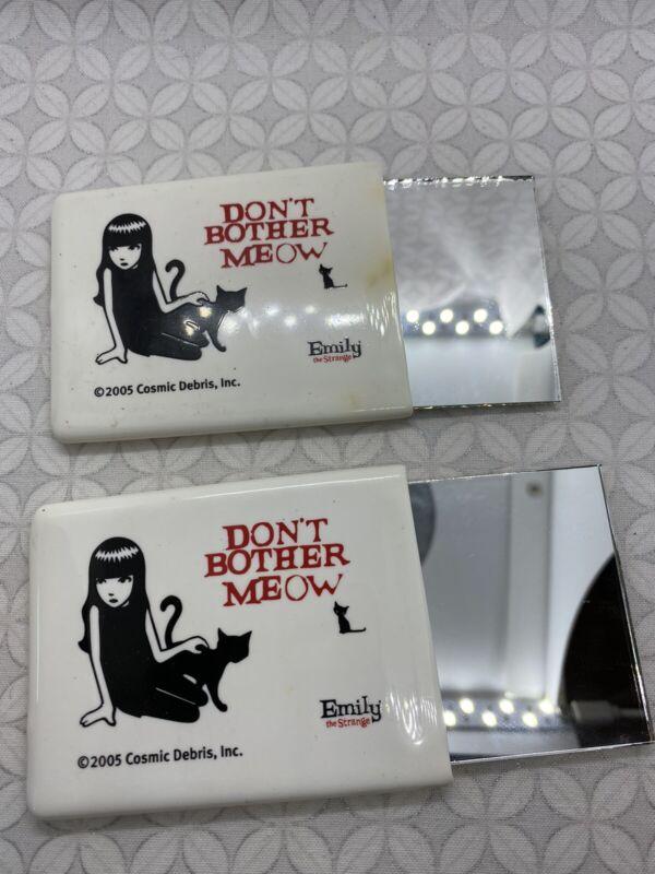 Emily strange promotional pocket mirror SDCC rare set of 2 used cats hot topic