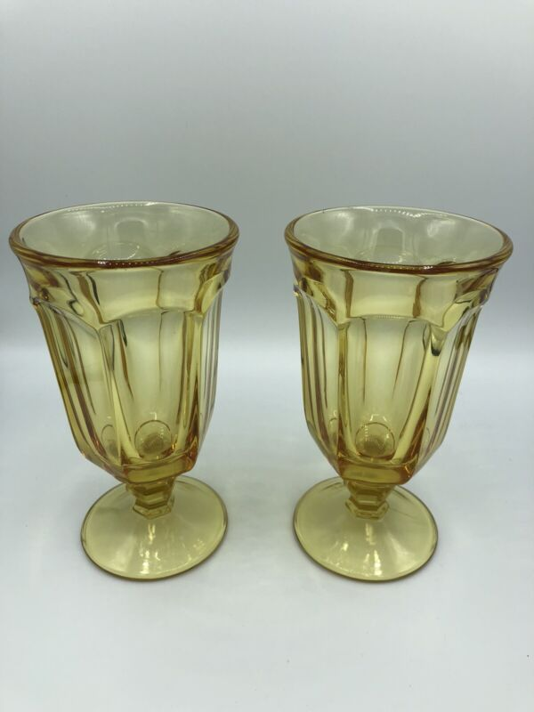(2) Vintage Imperial Old Williamsburg YELLOW Footed Iced Tea Glasses