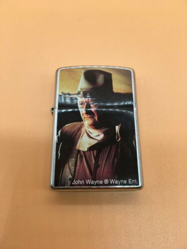 Zippo Lighter - John Wayne Satin Chrome - preowned and in nice shape!