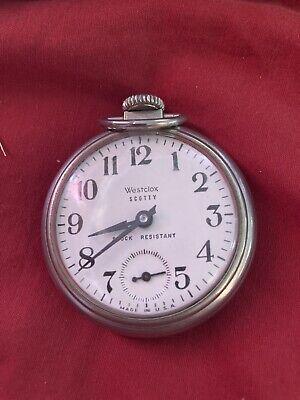 Vintage Westclox USA Scotty Mens Hand-Winding Mechanical Pocket Watch Hours~Runs