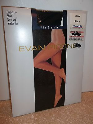 Evan-Picone Control Top Sheer Support Lycra Leg Shadow Toe Pantyhose SZ:  2 -