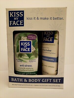 KISS MY FACE Bath & Body Set Anti-Stress Shower Gel & Olive/Aloe Lotion NWT