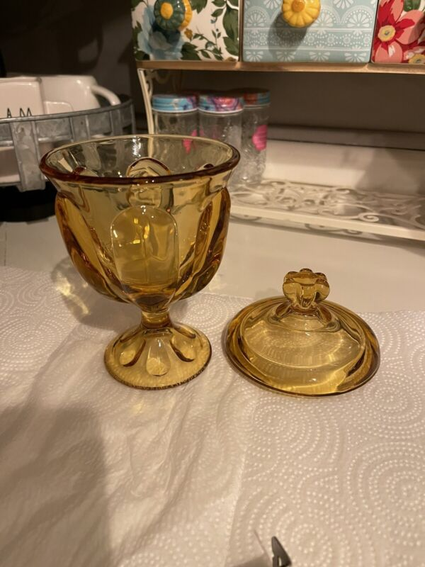 vintage amber glass candy dish with lid Depression Glass