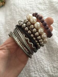 10 silver black pearl bracelet bangles big Newcastle Newcastle Area Preview